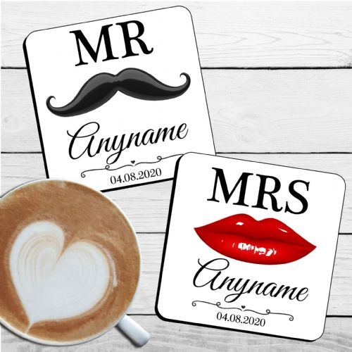 Personalised Mr & Mrs Wedding Coaster Set Moustache & Lips design N34  ANY NAME / DATE